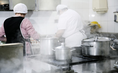 Cocina del comedor social de Cocina Económica de Logroño